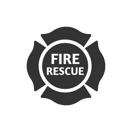 Firefighter emblem icon in single color. Service fireman coat of arms