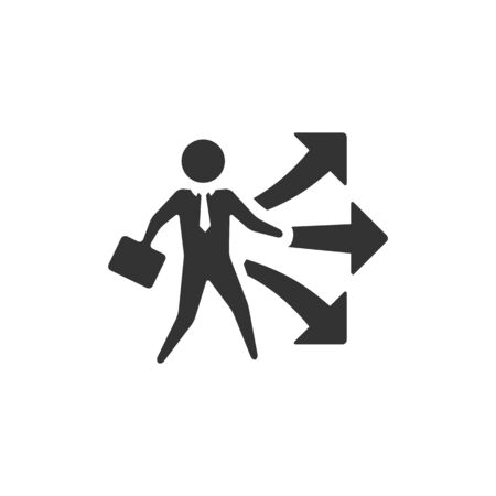 investment concept: Businessman choice icon in single color. Business option career arrows direction Illustration