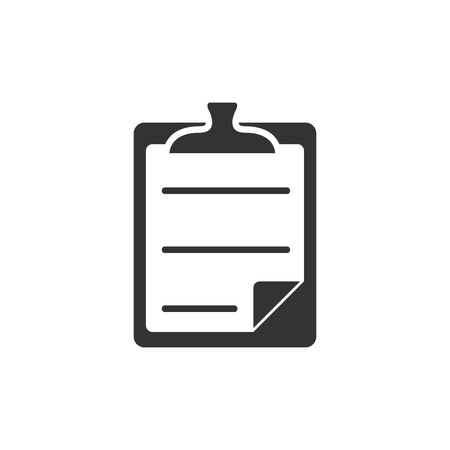 note paper: Checklist icon in single grey color. Office report information