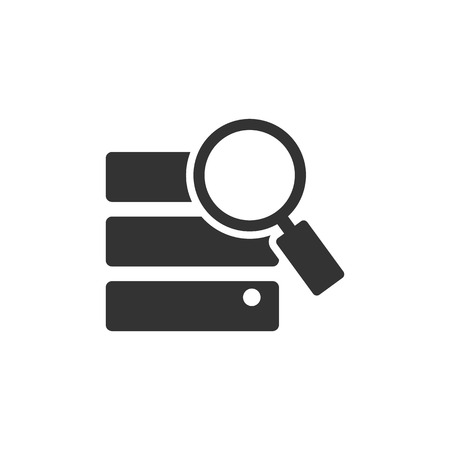 storage device: Database search icon in single grey color. Hardisk file server data center find