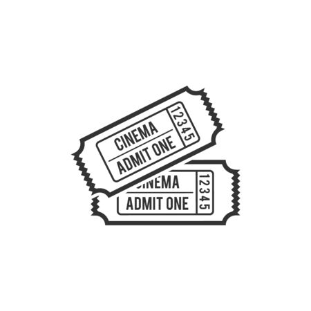 admit: Cinema ticket icon in single color. Movie entertainment show concert theater admit one Illustration