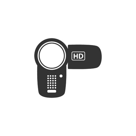 camcorder: Camcorder icon in single grey color. Videography movie memory picture electronic imaging Illustration