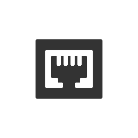 Local area connector icon in single color. Computer network internet connection broadband infrastructure