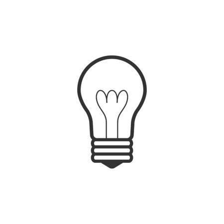 ligh: Lightbulb icon in single grey color. Idea inspiration electricity ligh Illustration