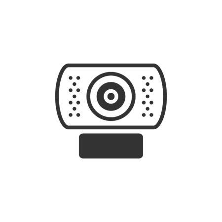 webcamera: Wecam icon in single color. Computer internet connection discussion teleconference business