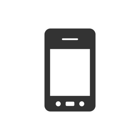 smartphone business: Smartphone icon in single grey color. Communication device, touch screen Illustration