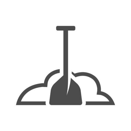 dirt: Snow and shovel icon in black and white grey single color. Winter cleaning Illustration