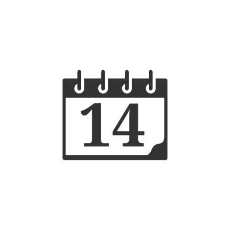 old notebook: Valentine calendar icon in single grey color. Love celebrate February date day
