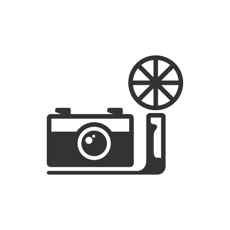 Vintage camera icon in single grey color. Photography picture imaging analog old retro flash bulb Illustration