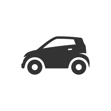 engine: Car icon in single grey color. Mini small urban city vehicle electric hybrid