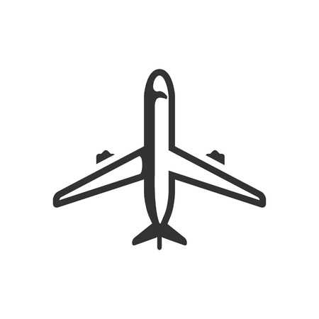 engine: Airplane icon in single grey color. Aviation transportation travel passenger commercial
