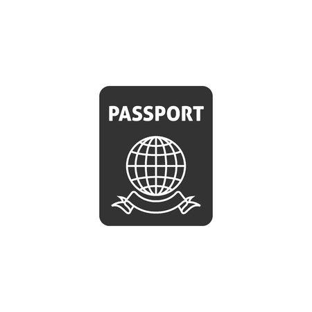 Passport icon in single grey color. Nationality identity people identify