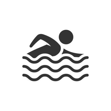Icona di nuoto dell'uomo in un unico colore grigio. Sport olimpico triathlon atleta Vettoriali