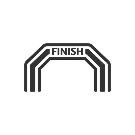 inflatable: Finish line icon in single grey color. Air tube inflatable