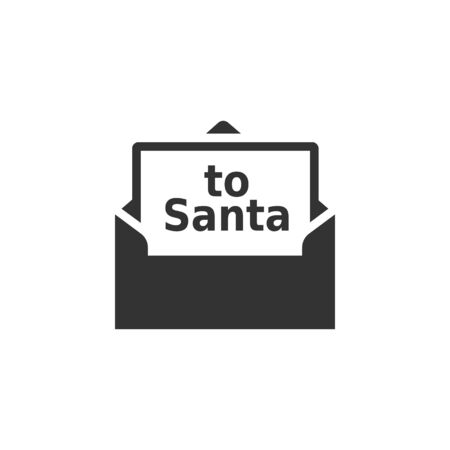 Letter Santa icon in single color. Christmas Xmas December holiday whishlist