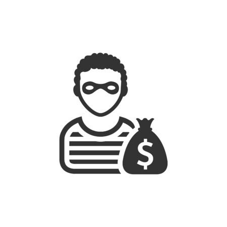 robbers: Burglar icon in single color. People person thief steal money sack dollar sign Illustration