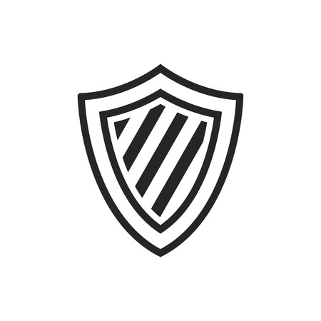 royal: Stripe shield icon in single grey color. Protection, safety, guard, computer antivirus