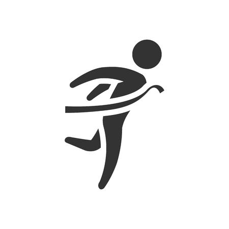 running: Finish line icon in single grey color. Sport runner marathon competition winning Illustration