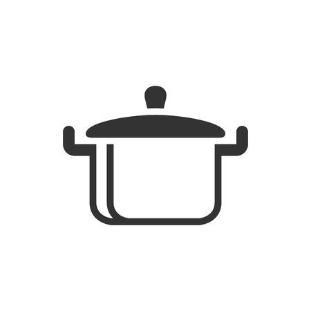 casserole: Cooking pan icon in single color. Food restaurant chef utensil boiling hot saucepan