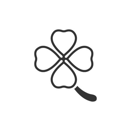 grey pattern: Clover icon in single color. Nature plant green saint patrick symbol