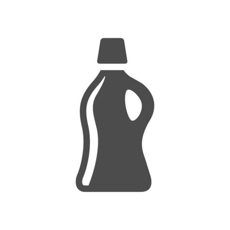 disinfect: Detergent bottle icon in black and white grey single color. Laundry perfume softener soap