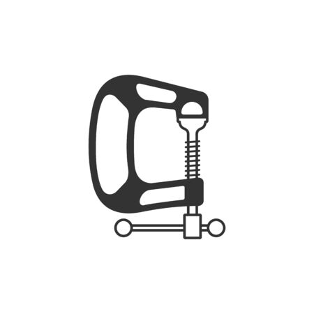 vice grip: Clamp tool icon in single color. Industrial mechanic repair construction building automotive Illustration
