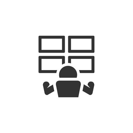 Surveillance room icon in single color. Monitor cctv, computer, protection, screen