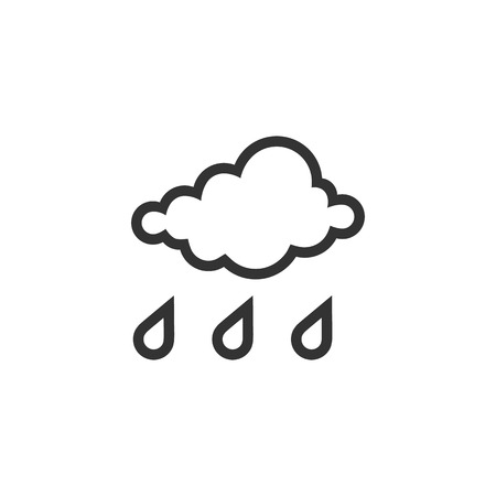 Rainy icon in single grey color. Season forecast monsoon wet meteorology