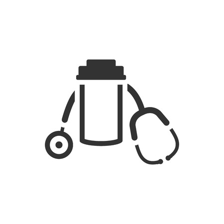 Pills bottle stethoscope icon in single grey color. Vitamin medicine drugs painkiller addiction doctor instrument Illustration