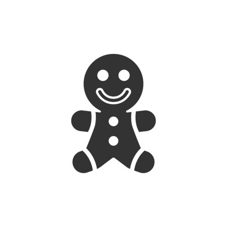 Gingerman icon in single color. Food snack cake ginger bread brown Illustration