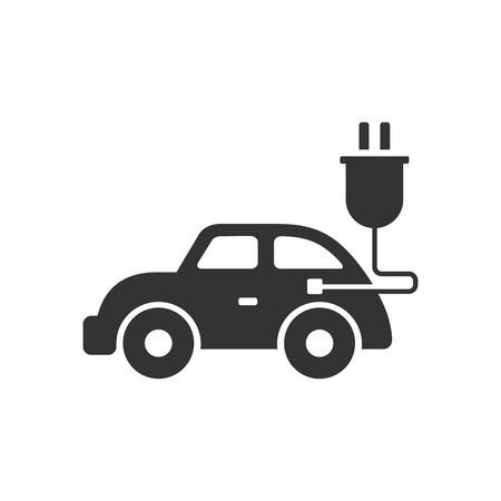 Electric car icon in single grey color. Vehicle, environment
