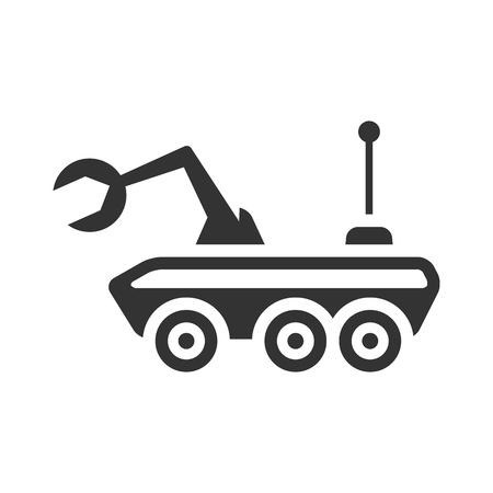 Space rover icon in single grey color. Vehicle, exploration, planet surface Illustration
