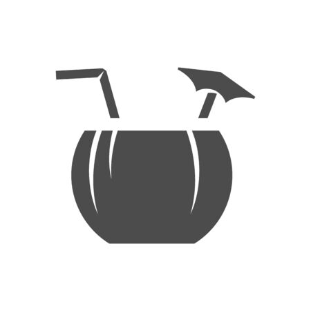 Coconut drink icon in black and white grey single color. Tropical Asian. Illustration