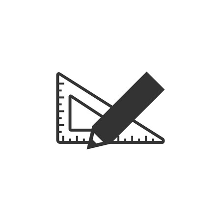 size: Pencil and ruler icon in single color. Education equipment measure writing drawing