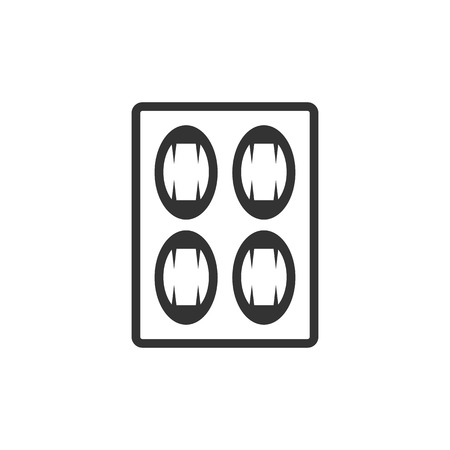 blisters: Pills icon in single grey color. Vitamin medicine drugs painkiller addiction blister pack Illustration