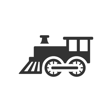 children silhouettes: Locomotive toy icon in single grey color. Children games