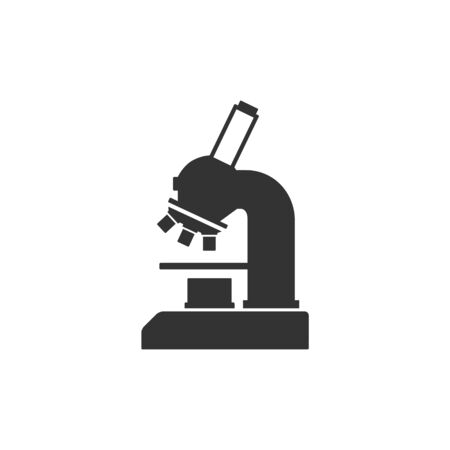 biology lab: Microscope icon in single grey color. Science equipment laboratory chemist biology bactery virus magnification