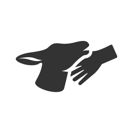 hand care: Animal care icon in single grey color. Deer mammal zoo jungle human feeding