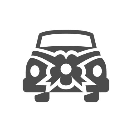 happy couple: Wedding car icons in single color.