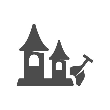Sand castle icon in black and white grey single color. Beach building kids shovel