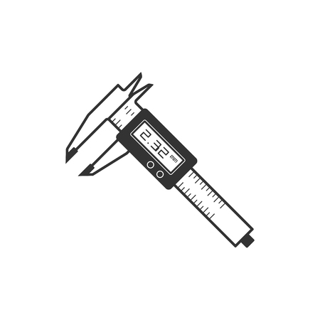Digital caliper icon in single color. Instrument equipment measurement accuracy milimeter Illustration
