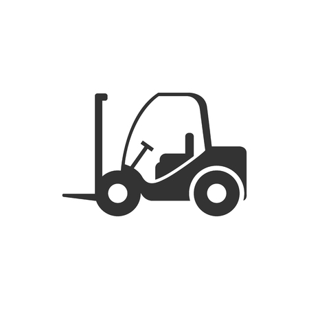 warehouse: Forklift icon in single color. Industrial vehicle work warehouse shipping inventory Illustration