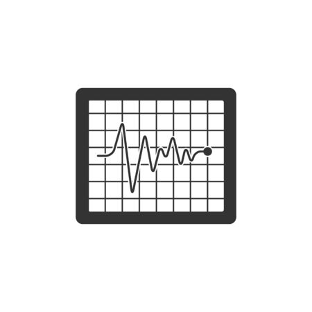 pulsating: Heart rate monitor icon in single grey color. Human pulse line beep graph