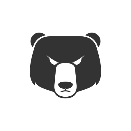 investment concept: Bear icon in single grey color. Finance, speculation, trend Illustration