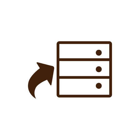 clouds: Database icon in single color. Hardisk, upload, file, server, web hosting