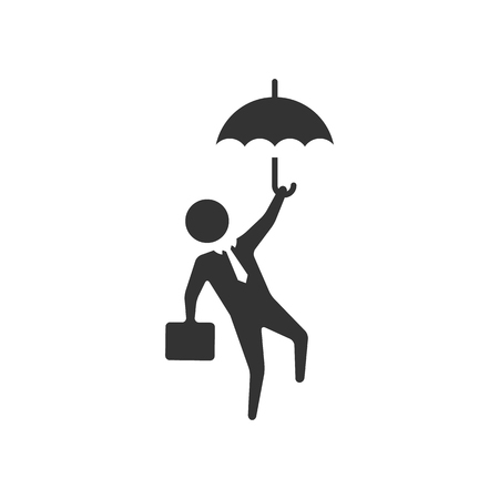 Businessman umbrella icon in single color. Business people challenge office Illustration