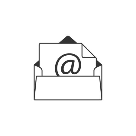 contact: Email icon in single grey color. Open envelope