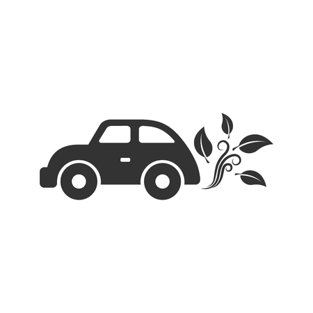 Green car icon in single grey color. Low emission, electric vehicle