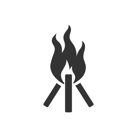 Camp fire icon in single color. Camping burn heat wild fire