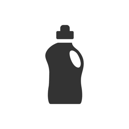 home icon: Detergent bottle icon in black and white grey single color. Laundry perfume softener soap